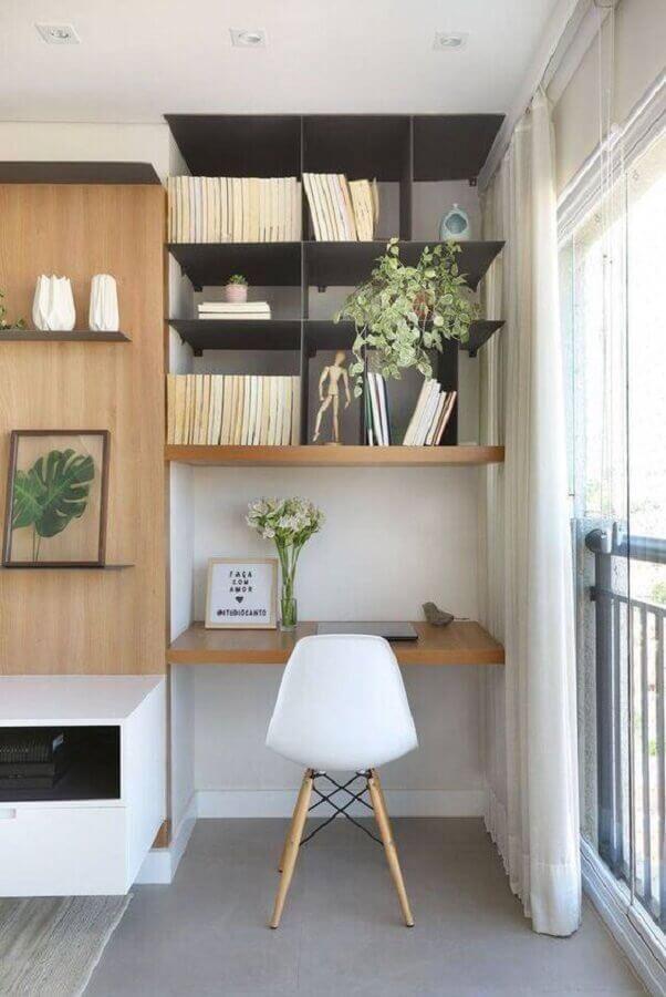 cadeira eames branca para home office planejado pequeno Foto Behance