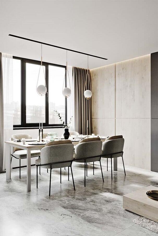 cadeiras estofadas para sala de jantar moderna e minimalista Foto Pinterest