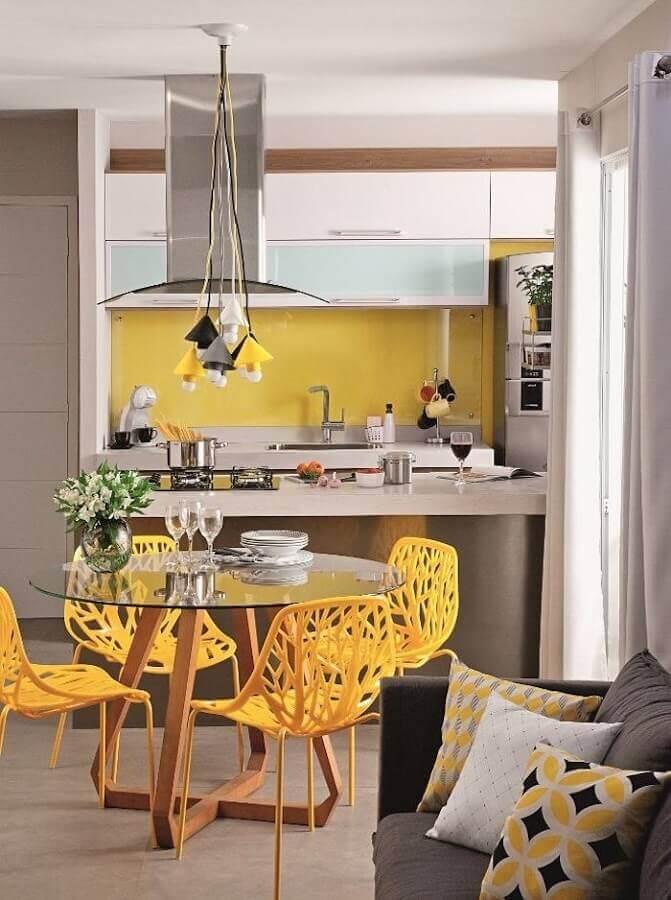 cadeiras para sala de jantar modernas amarela e cinza Foto Planete-deco
