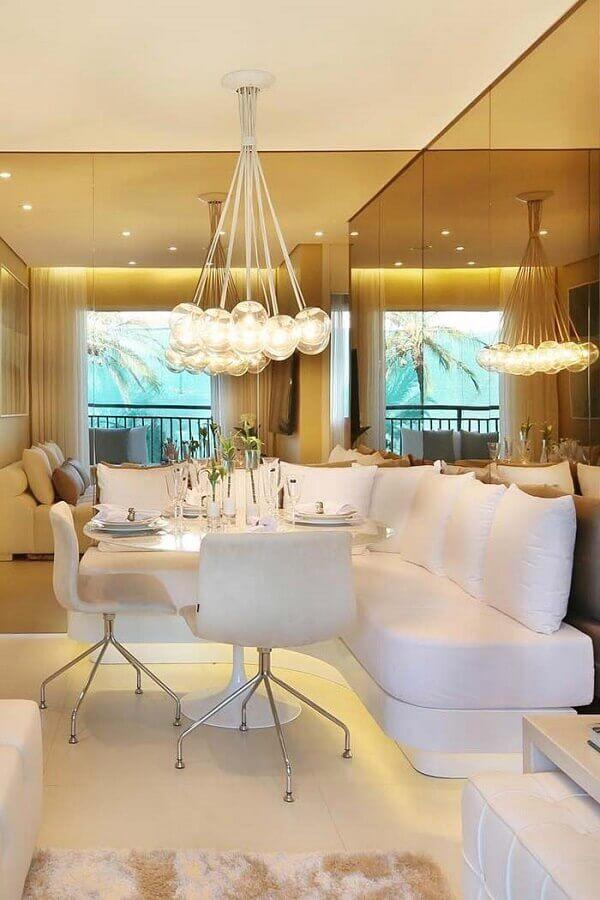 cadeiras para sala de jantar toda branca com canto alemão Foto Ideas Decor