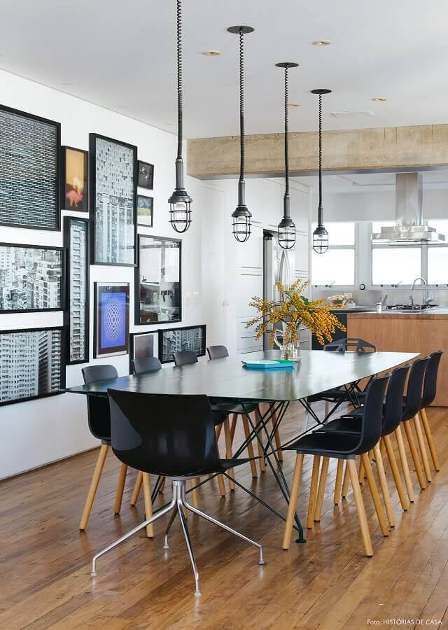 cadeiras pretas para sala de jantar moderna Foto Histórias de Casa