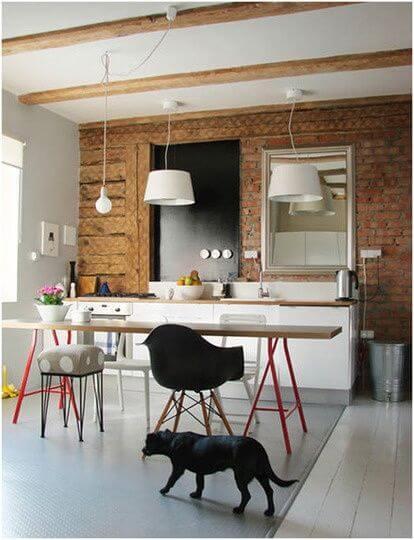 Mesa cavalete para sala de jantar moderna