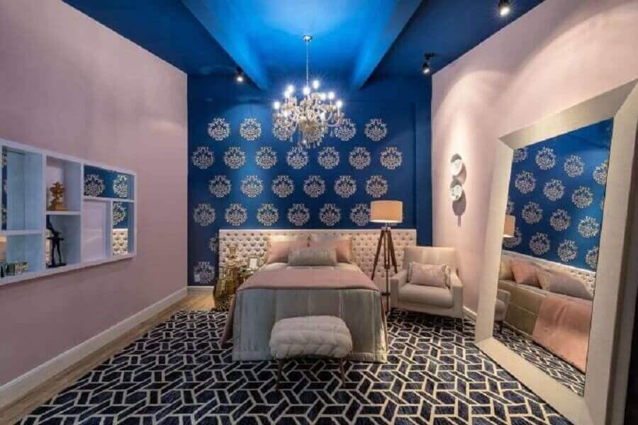 cores para quarto de moça azul e rosa Foto Pinterest