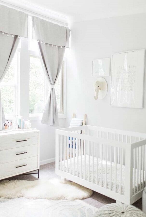 decoração clean para quarto de bebê branco Foto Ideias Decor