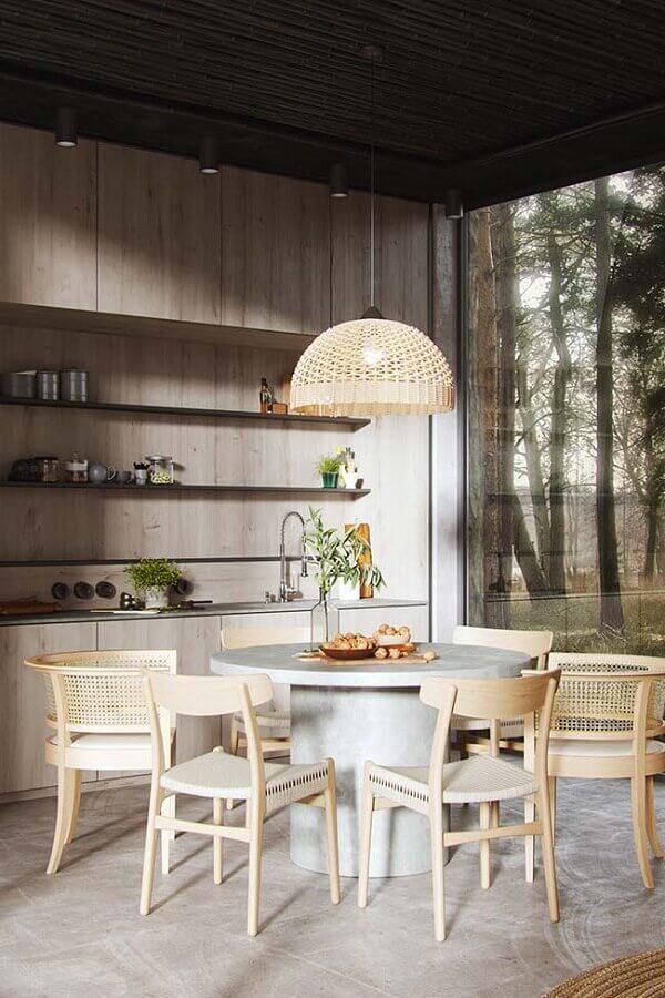decoração com cadeiras de madeira para sala de jantar Foto Webcomunica