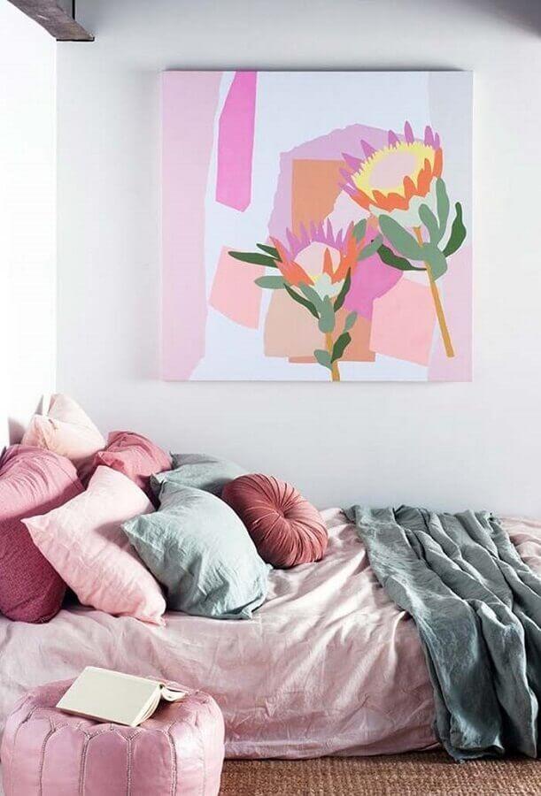 decoração com várias almofadas para quarto branco e rosa Foto Ideias Decor