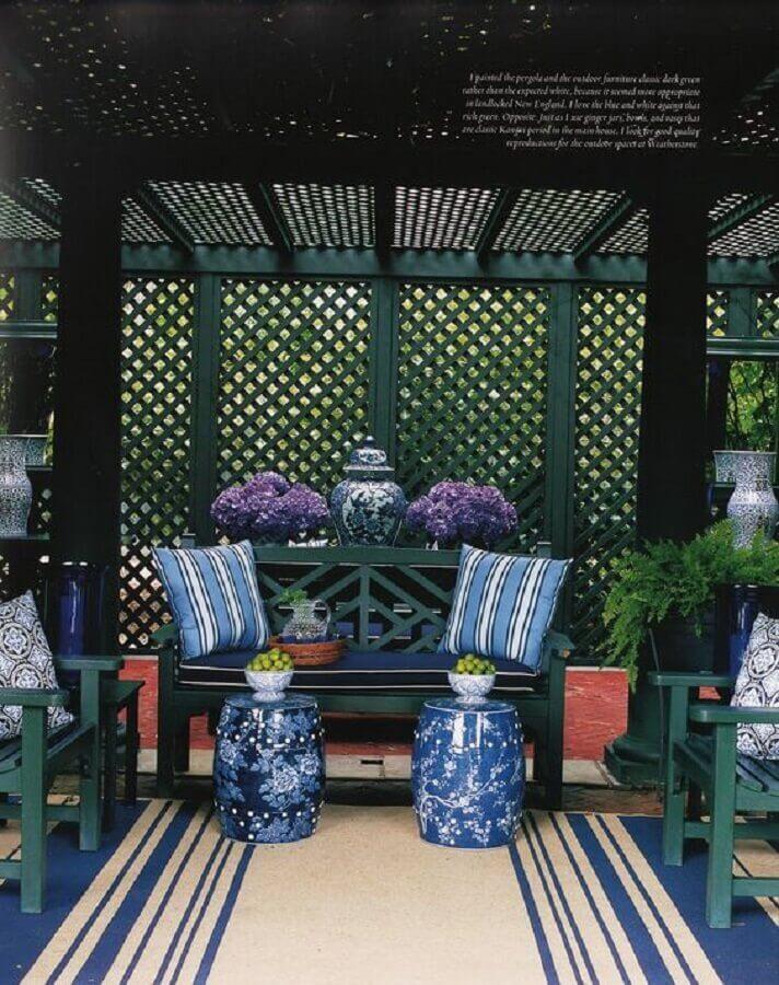 decoração de varanda com treliças de madeira Foto Pinterest