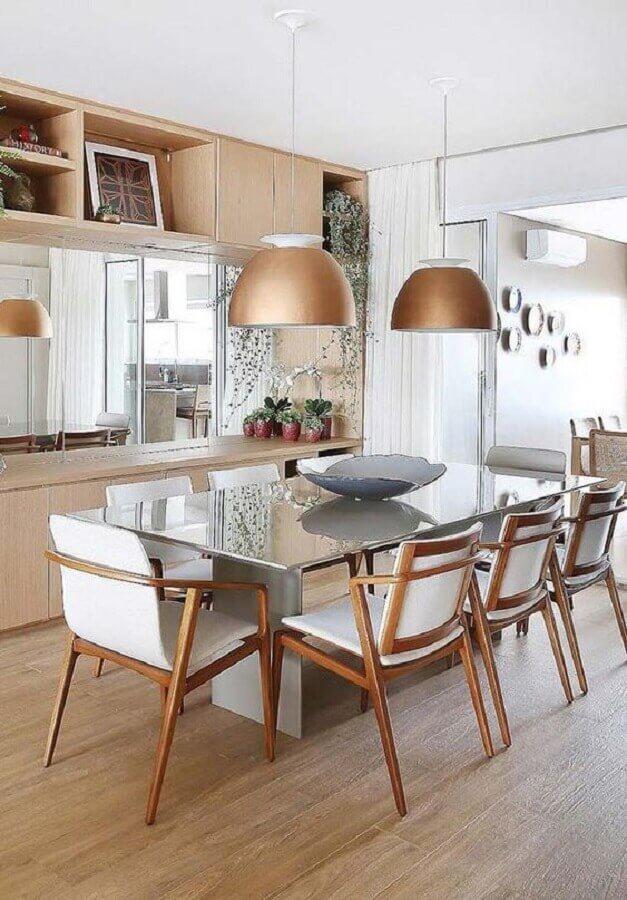 decoração em tons neutros com cadeira de madeira branca para mesa de vidro Foto Ideas Decor