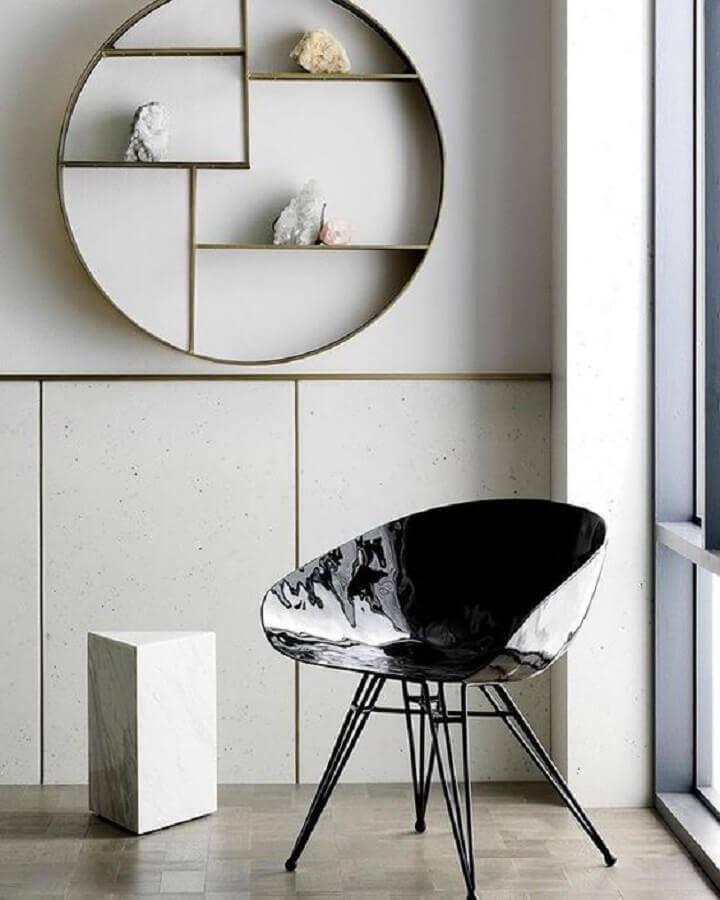 Decoração minimalista com nichos redondo
