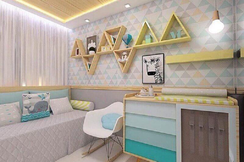 decoração moderna com papel de parede para quarto de bebê Foto Lara Sousa Arquiteta