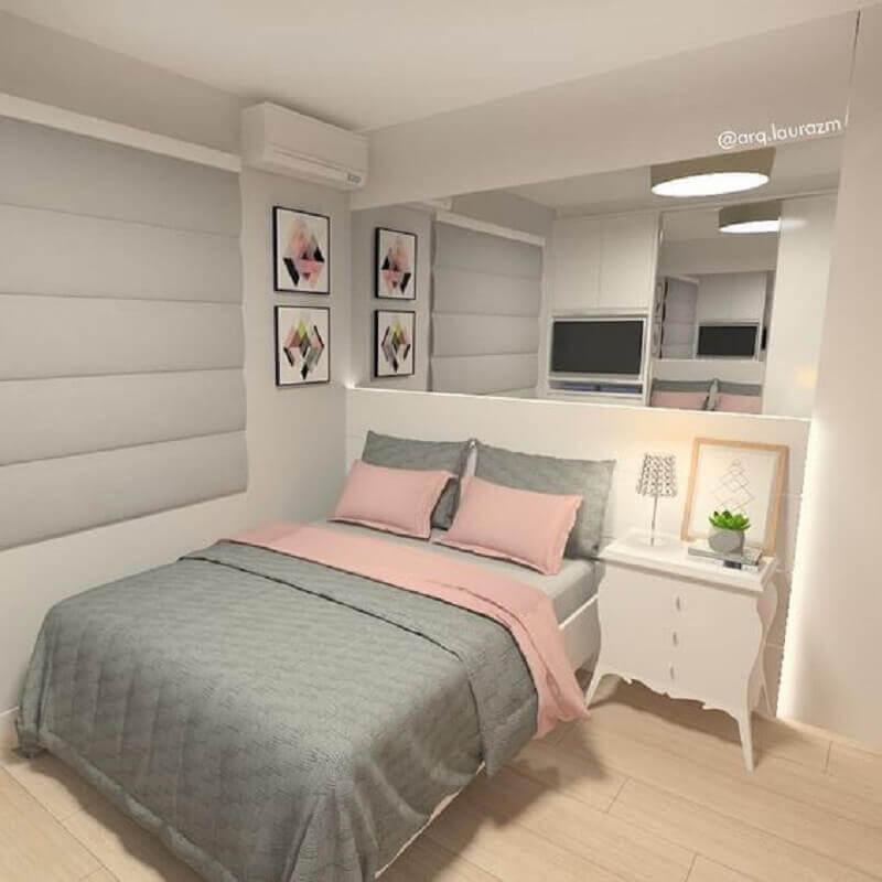 decoração para quarto branco cinza e rosa Foto Laura Zanatta