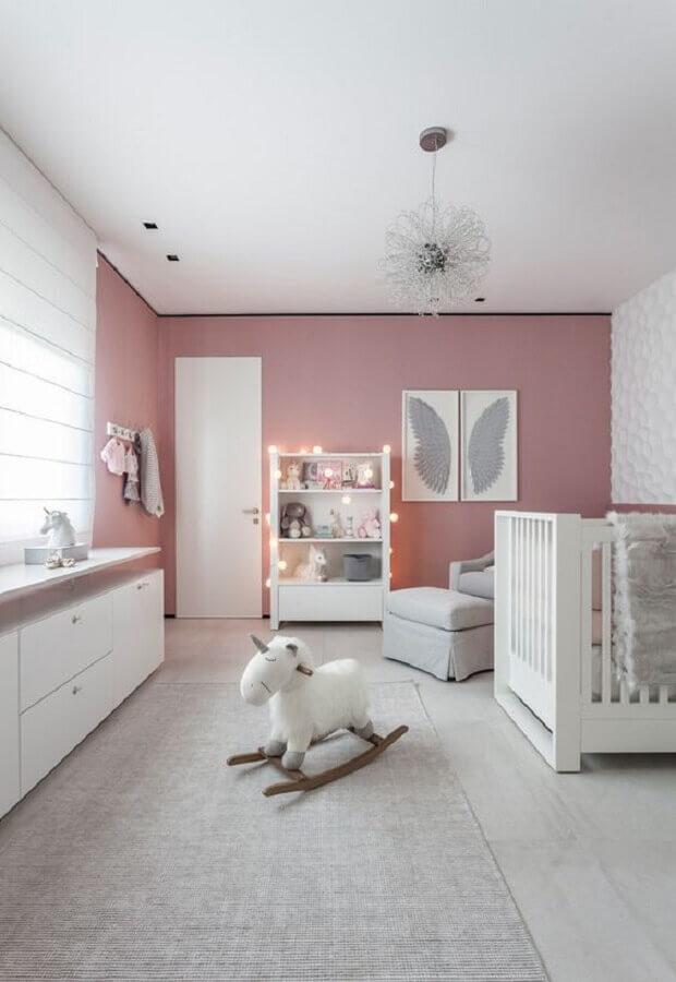 decoração para quarto de bebê branco e rosa Foto Ideias Decor