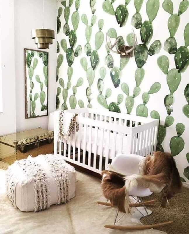 estampa de cactos para papel de parede para quarto de bebê branco Foto Pinterest