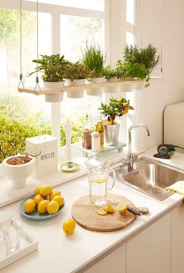 Cozinha com mini horta
