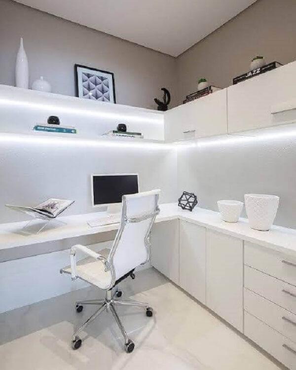 Escritório planejado com iluminação embutida no armário