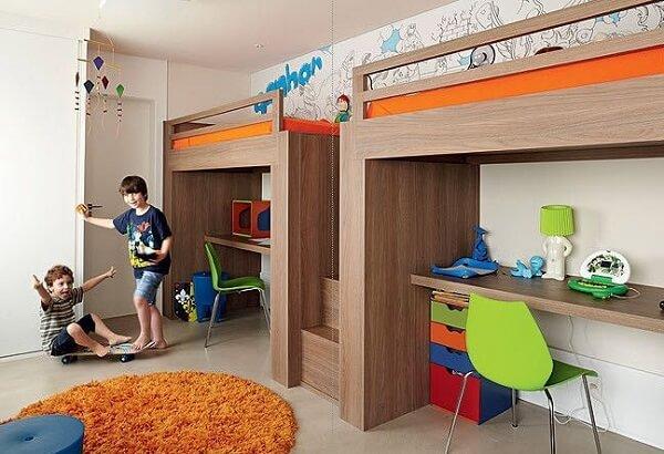 Bancada suspensa para quarto infantil compartilhado
