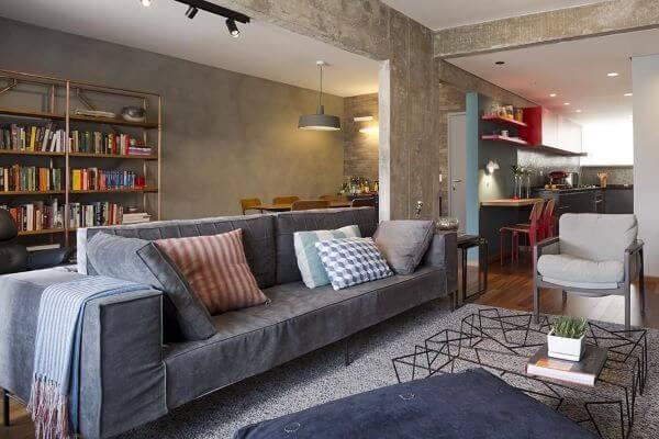 Limpeza de sofá para sala de estar cinza