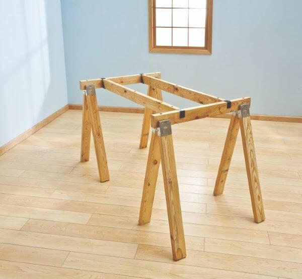 Base de cavalete de madeira para mesa