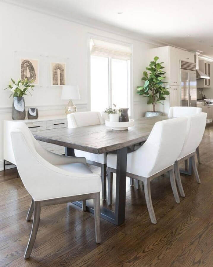 mesa com cadeira branca para sala de jantar Foto South Cone Home