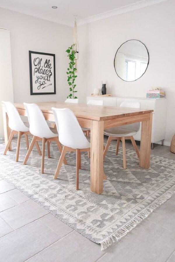 mesa com cadeira branca para sala de jantar clean com espelho redondo Foto ShopYourLikes