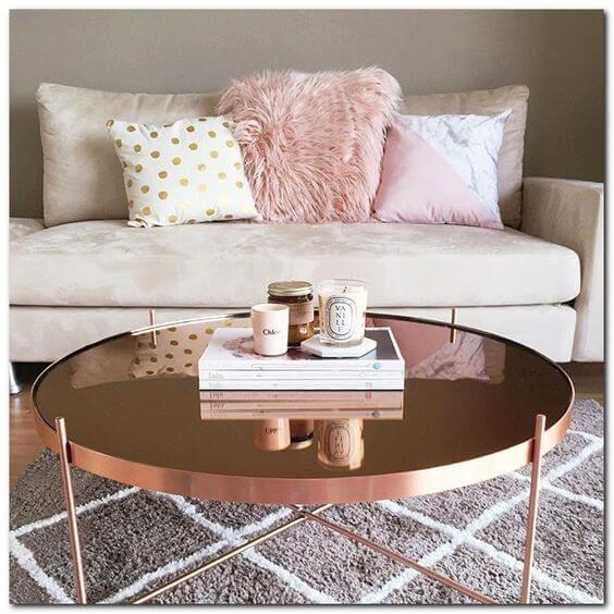 Mesa de centro espelhada bronze