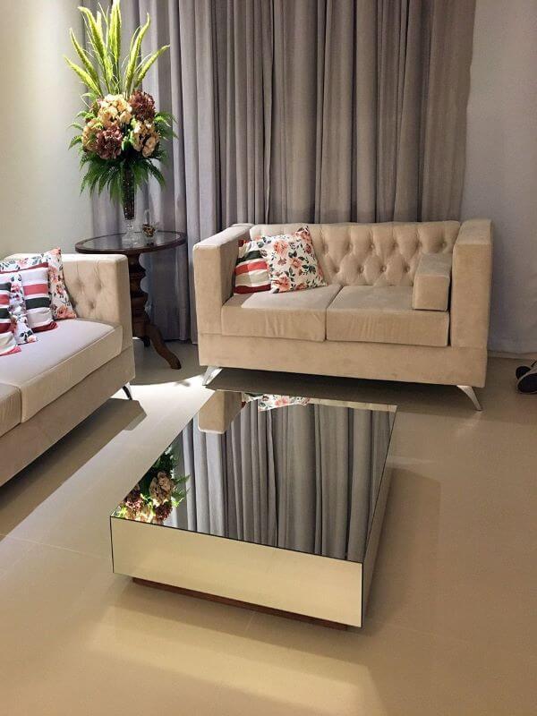 Mesa de centro espelhada para sala de estar sofisticada