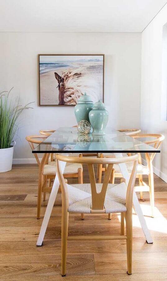 mesa de vidro e cadeiras de madeira para sala de jantar Foto We Heart It