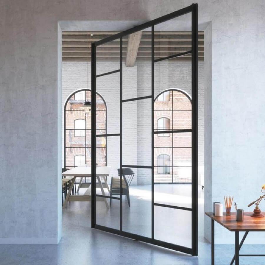 modelo de porta de ferro com vidro pivotante Foto Pinterest