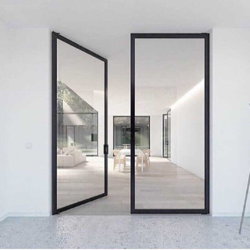 modelo minimalista de porta de ferro com vidro Foto Pinterest
