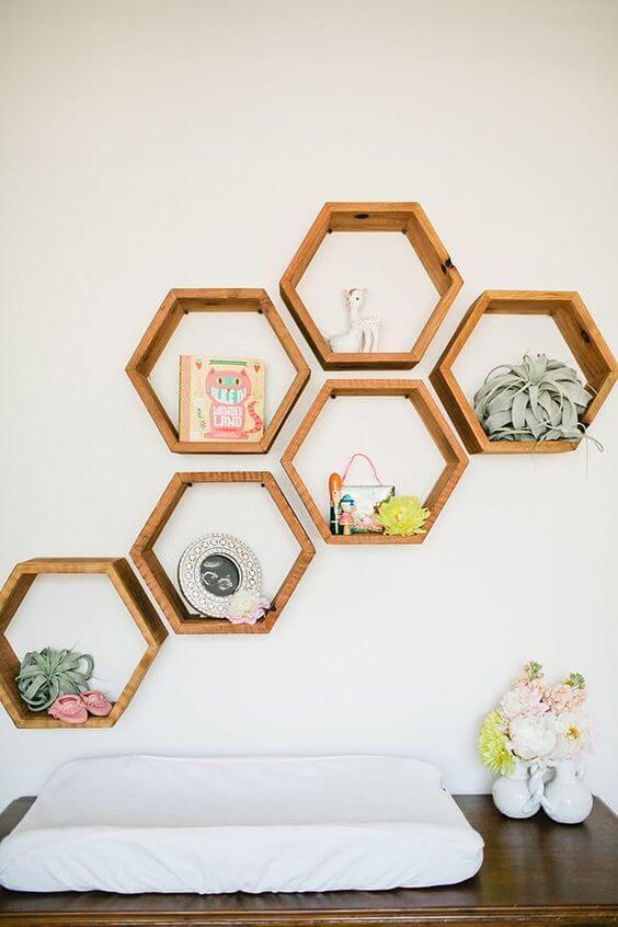 Nicho para banheiro hexagonal