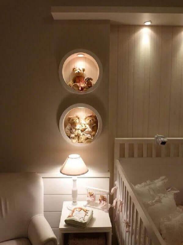 Nicho redondo com led pra decoração de quarto de bebê