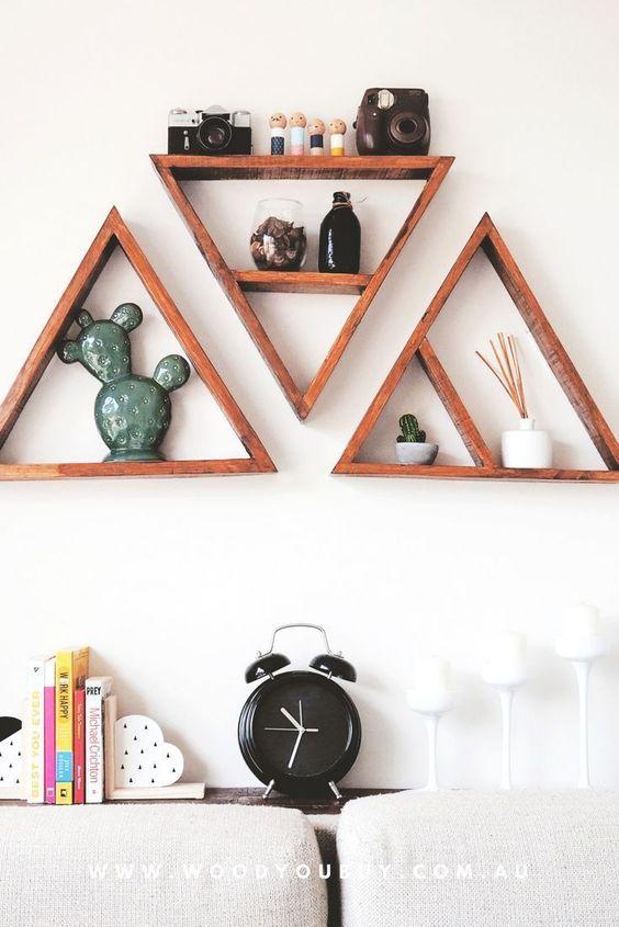 Nichos de madeira triangular para decoração moderna
