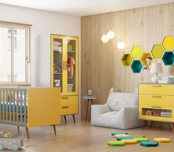 Nichos para quarto de bebê amarelo
