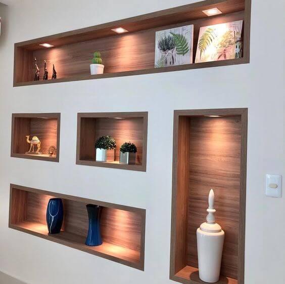 Nichos para sala de estar madeira