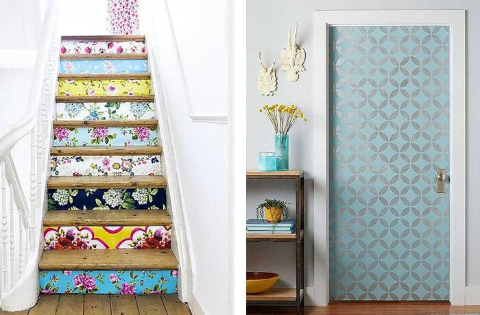 A escada e a porta pode receber um acabamento especial de papel de parede divertido