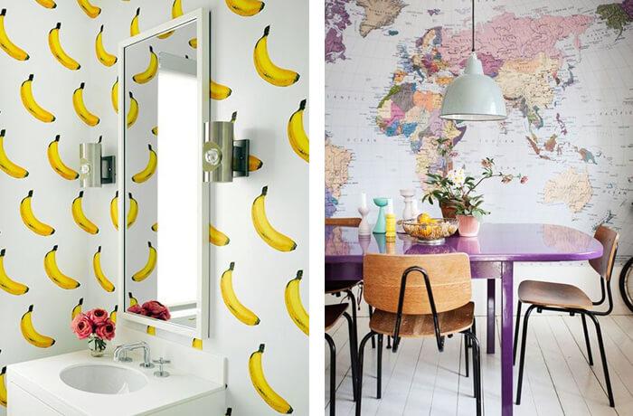 Que tal um papel de parede divertido com frutas ou Mapa Mundi?