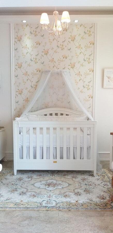 papel de parede floral para decoração de quarto de bebê branco Foto Puro Amor