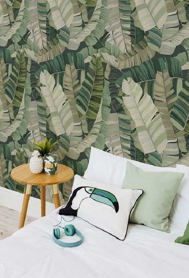 papel de parede verde com estampa de folhagens Foto Yandex