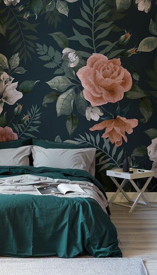 papel de parede verde com flores grandes Foto Pinterest