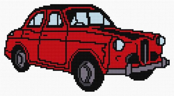 Ponto cruz de carro vermelho