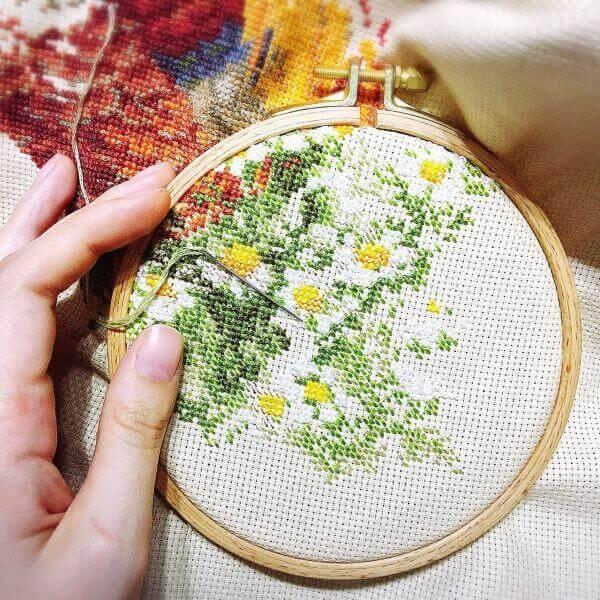 Ponto cruz de flores