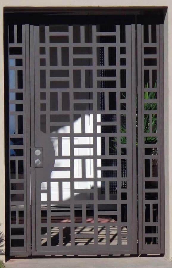 porta de ferro com recortes modernos Foto Pinterest