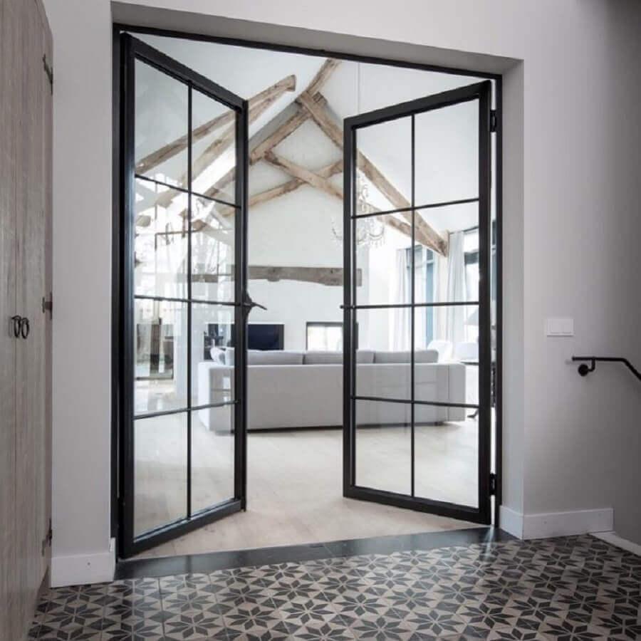 porta de ferro com vidro para sala Foto Obly