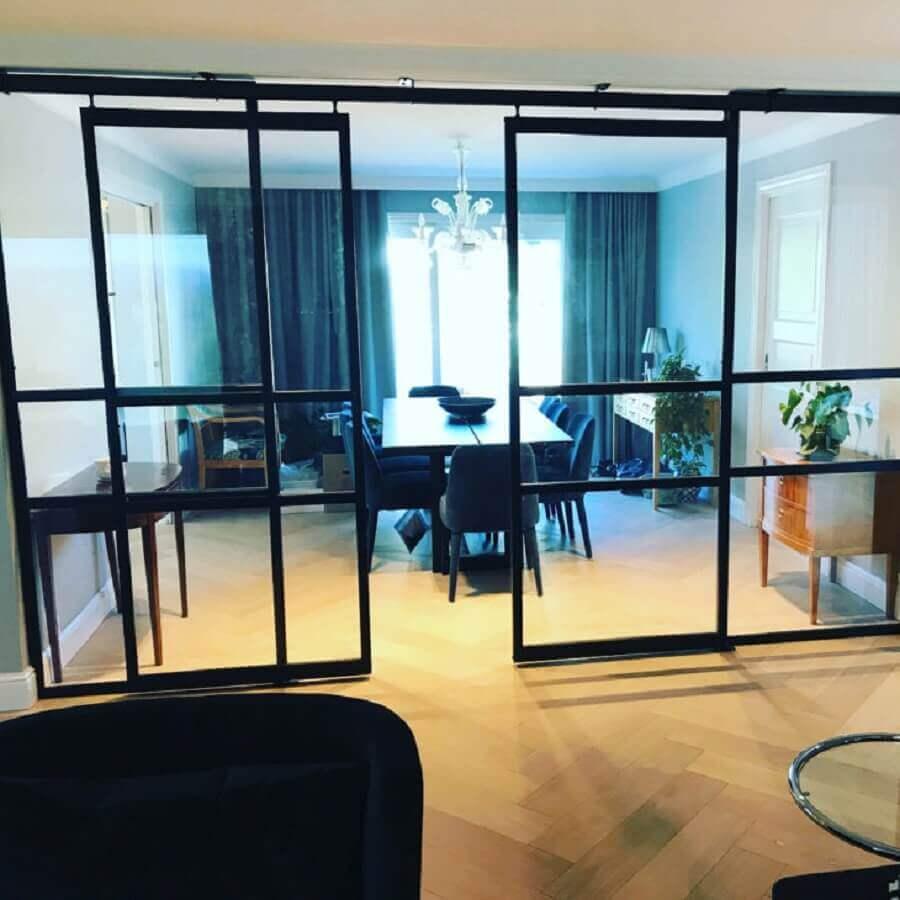 porta de ferro de correr com vidro para sala de jantar Foto Metal Form
