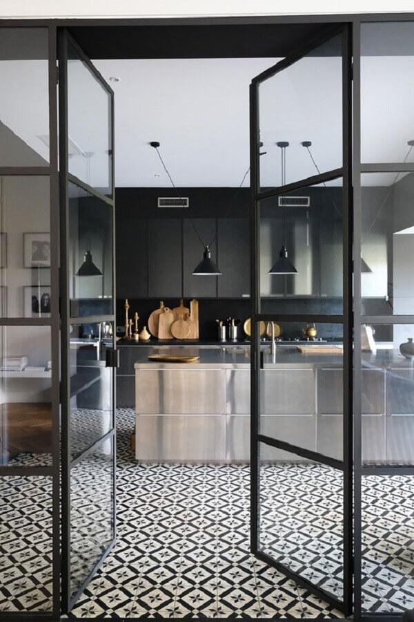porta de ferro para cozinha moderna Foto Pinterest