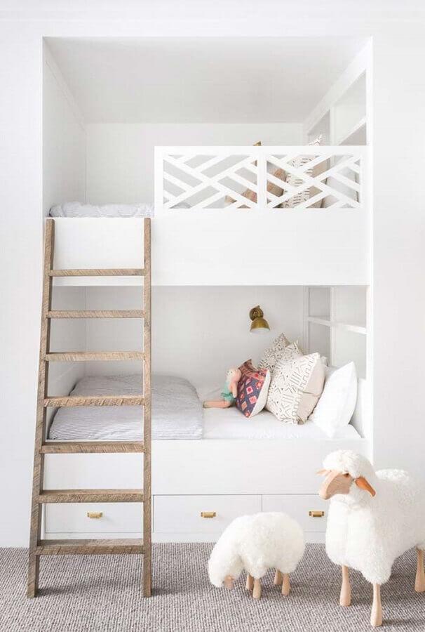 quarto branco planejado infantil Foto Pinterest
