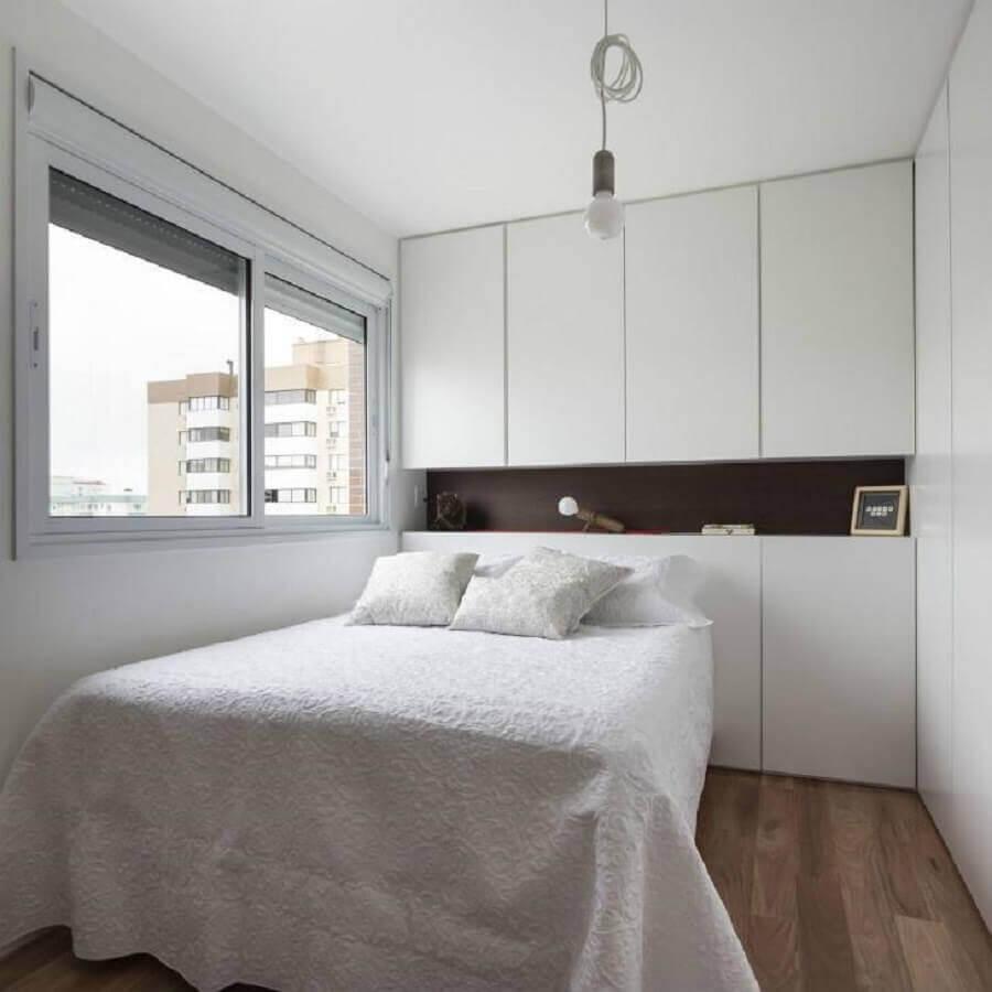 quarto branco simples planejado Foto 0E1 Arquitetos