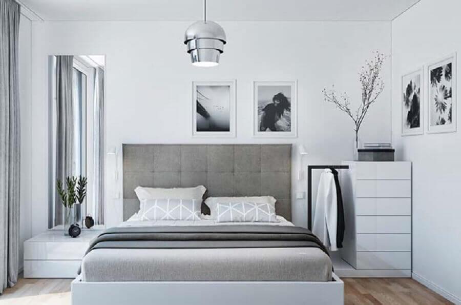 quarto cinza e branco com decoração neutra Foto Ideas Decor