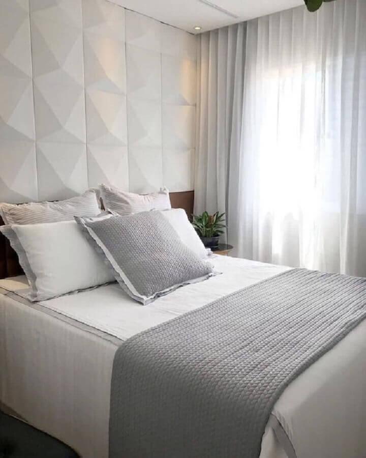 revestimento 3d para decoração de quarto branco de casal Foto Pinterest