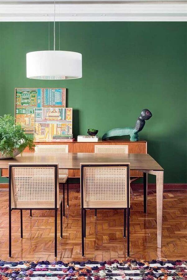 sala de jantar decorada com parede verde Foto Casinha Colorida